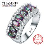 YHAMNI 100% 925 Sterling Ring Multicolor Cubic Zircon Fire Opal Rings For Women Vintage Fashion Silver <b>Jewelry</b> <b>Accessories</b> J049