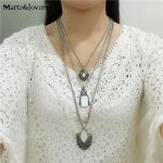 [Marte&Joven] Vintage <b>Antique</b> Silver Geometric Shell Pendant Three-layer Long Necklace Women Factory Wholesale Fashion <b>Jewelry</b>