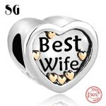 Silver 925 Original Best Wife DIY Silver <b>jewelry</b> Charm <b>Antique</b> Heart beads Fit Authentic pandora charm beads for <b>jewelry</b> making