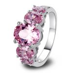 <b>Art</b> <b>Deco</b> Oval Cut Pink crystal 925 Silver Ring Size 7 8 9 10 11 12 New Fashion <b>Jewelry</b> Gift For Women Wholesale Free Shipping