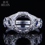 HELON Solid 14K White Gold 7-7.5mm Round Cut Semi Mount Antique <b>Art</b> <b>Deco</b> Trendy <b>Jewelry</b> 0.3ct Natural Diamonds & Sapphires Ring