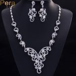 Pera Luxury Wedding <b>Accessories</b> Cubic Zirconia Stone Natural Freshwater Imitation Pearl Necklace <b>Jewelry</b> Sets For Brides J026