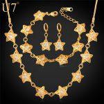 U7 Elegant Star <b>Jewelry</b> set For Women Wedding <b>Accessories</b> Cubic Zirconia Gold Color Necklace/Earrings/Bracelet Sets S651