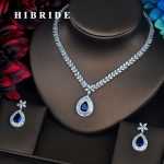 HIBRIDE Luxury Blue Water Drop AAA Cubic Zirconia <b>Jewelry</b> Set For Bride Wedding Dress Elegent Charm <b>Accessories</b> Party Gift N-505