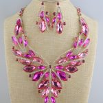Birdal Wedding Necklace Earring Set Fuchsia Glod plated Rhinestones Crystal Statement Women's party <b>Jewelry</b> sets <b>accessories</b>