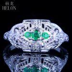 HELON Three Stone 925 Sterling Silver 0.2CT Green Emerald Vintage <b>Antique</b> Engagement Wedding <b>Jewelry</b> Women Fine Ring