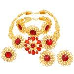 Charm Fashion Women 24 Gold <b>Jewelry</b> Sets Red Crystal Necklace Ring Earrings Dubai Bridal Wedding <b>Jewelry</b> Gift <b>Accessories</b>