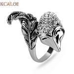 KCALOE Crystal Rhinestone Animal Rings For Women Fashion <b>Antique</b> Silver Plated Punk Rock <b>Jewelry</b> Cute Party Fox Ring