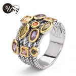 UNY Ring Beautiful Multi CZ Twisted Cable Wire Rings Designer Fashion Brand David Vintage Love <b>Antique</b> Rings Womens <b>Jewelry</b> Ring