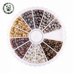 1 box 6 colors iron crimp beads covers, <b>antique</b> bronze & red copper & black & silver & golden & Metal, cadmium free & lead free