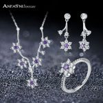 ANFASNI Real 925 Sterling Silver <b>Jewelry</b> Set Forget Me Not Flower With Clear and Purple CZ For Women <b>Jewelry</b> <b>Accessories</b>
