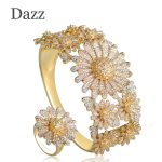 Dazz Big Flower <b>Jewelry</b> Sets For Women Three Tones Bridal Wedding Garment <b>Accessories</b> Copper Zircon Wide Finger Ring Bangle Set