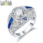 <b>Art</b> <b>Deco</b> Filigree Engagement Rings for Women Big Stones Blue Cubic Zirconia Vintage Luxury Female <b>Jewelry</b> Ring Anel Bague Femme
