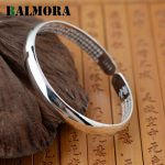 BALMORA Authentic 999 Pure Silver <b>Jewelry</b> Retro Round Classic Bangles for Women Men Bracelets <b>Accessories</b> Gifts Bijoux SZ0045