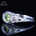 HELON 925 Sterling Silver 4.5mm round Pave 0.92ct Peridot <b>Art</b> <b>Deco</b> Ring Engagement Wedding Anniversary Women <b>Jewelry</b> Fine Ring
