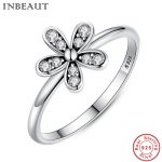 INBEUAT Real 925 Sterling Silver Elegant Flower Ring for Women <b>Antique</b> Style Zircon Wedding Rings with Clear White CZ <b>Jewelry</b>