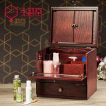 2016 Time-limited 12l Organizer Hongyitang Cosmetic Storage Box Real Wood <b>Antique</b> Large Wooden Makeup Dressing Mirror Cassette
