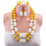 White Necklace Set Gold-color Ball Statement Necklace Earring Crystal Nigerian Women <b>Accessories</b> African Beads <b>Jewelry</b> Sets