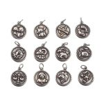 1set <b>Antique</b> Silver Flat Round with Constellation 316 Stainless Steel Pendants, 21x18x3mm, Hole: 5mm