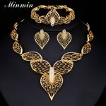 Minmin High Quality Gift For Women Gold-color Hollow Heart Leaf <b>Jewelry</b> Sets Crystal Charming <b>Accessory</b> 3TL079
