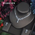 HIBRIDE Fashion Clear Crystal Cubic Zirconia Women Full <b>Jewelry</b> Sets Earring Necklace Set Dress <b>Accessories</b> Party Show N-338