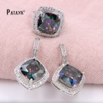 PATAYA Big Rainbow <b>Jewelry</b> Sets Square Natural Zircon Ring Earrings Sets Bride Wedding <b>Accessories</b> Cristal Summer Style <b>Jewelry</b>