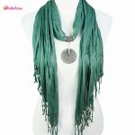 AOLOSHOW Fashion pendant Necklace <b>jewelry</b> scarfs for women <b>antique</b> alloy Round pendant Long scarf NL-1677