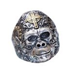 Authentic 925 Sterling Silver Mens RIng Cool gorilla King Kong With Cross Engraved Men <b>Accessories</b> <b>Jewelry</b> 2017