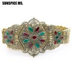 Ethnic Hollow Flower Metal Belly Chian Belt <b>Antique</b> Gold Color Wide Waist Chain Indian Bohemia Wedding Waistband Body <b>Jewelry</b>