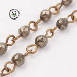 "Natural Pyrite Handmade Beaded Chains, with Iron Eyepins, <b>Antique</b> Bronze, 39.37""; 1m/strand"