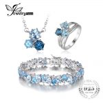 JewelryPalace 26.82ct Genuine Multi London Blue Topaz 3 Stones Ring Pendant Necklace Link Tennis Bracelet 925 <b>Sterling</b> <b>Silver</b>