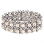 Bella Fashion Flower Rhinestone Bridal Bracelet Ivory Pearl Austrian Crystal Bracelet Stretch Wedding <b>Accessory</b> Party <b>Jewelry</b>