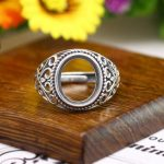 Art Deco <b>Antique</b> 925 Silver Engagement Semi Mount Ring for 11x13mm Oval Cabochon Amber Agate Turquoise Fine <b>Jewelry</b> Setting