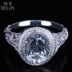 HELON Solid 10K White Gold Flawless 2.83ct 10x8mm Oval Cut White Topaz Engagement Wedding Ring Vintage <b>Art</b> <b>Deco</b> Style <b>Jewelry</b>