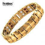 Hottime Fashion <b>Jewelry</b> Health FIR Magnetic Titanium Steel Bio Energy Bracelet For Men Blood Pressure <b>Accessory</b> Golden Bracelets