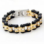 Gold Black Motorcycle Chain Bracelet Men Vintage Bike Stainless Steel Charm Bracelets Bangle Fashion <b>Jewelry</b> <b>Accessory</b> 220*19mm