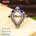 100% 925 Sterling-Silver-<b>Jewelry</b> Ring Base Fit Squre 9*12mm Cloisonne Classic <b>Antique</b> Bronze Blank Tray diy Handmade Rings