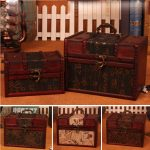 2Size Wooden <b>Antique</b> Storage Box Retro Vintage Leather As Gifts Library Bar Makeup Organizer Wooden Box Make Up Organizer Boxes