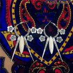 Original India Gypsy Turkey Woman Hippie Boho Wind <b>Antique</b> Silver <b>Jewelry</b> Retro Handmade DIY Natural Stone Circle Earrings