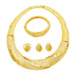 African Fashion Women 24 Gold <b>Jewelry</b> Sets Crystal Necklace Ring Earrings Charm Bride Wedding Gift Bracelet <b>Jewelry</b> <b>Accessories</b>
