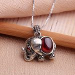 <b>antique</b> style sterling 925 silver elephant garnet pendant with box chain silver crystal vintage necklaces & pendants <b>jewelry</b>