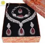 Fashion Crystal Silver Plated <b>Jewelry</b> Sets For Women Party <b>Accessories</b> African Beads Necklace Earrings Bracelet Ring+Gift Boxes
