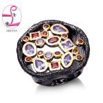 ZHE FAN AAA Cubic Zirconia <b>Antique</b> Black Gold Color Vintage Big Rings For Women Men 2 Tone Party Valentines Day Gift <b>Jewelry</b>