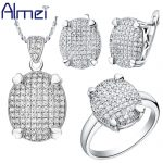 Almei 35% Off African Bridal <b>Jewelry</b> Sets Silver Color Zircon Wedding <b>Accessories</b> Bride Ring Necklace Set Women Earrings T005