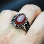 Black / Red Onyx Stone Mens Ring Thick Band In Well polished <b>Antique</b> Titanium Stainless Steel Vintage Cool Mens <b>Jewelry</b> Free Box