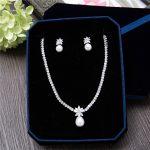 AAA Cubic Zirconia CZ Zircon Women Necklace Earrings Set Marquise Pearl Pendant Brides Wedding <b>Jewelry</b> Sets Bridal <b>Accessories</b>