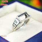 100% Sterling Silver 925 <b>Jewelry</b> 6*12mm Adjustable Ring Blank Tray Setting Square Stone <b>Antique</b> Silver Classical