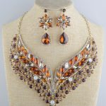 Statement <b>Jewelry</b> Set Brown Rhinestone Golden Plated Crystal Bridal Necklace With earrings For Women Party <b>Jewelry</b> <b>Accessories</b>