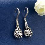 BELLA Fashion <b>Art</b> <b>Deco</b> 925 Sterling Silver Hollow Flower Bridal Earrings Dangle Earrings Oxidized Wedding <b>Jewelry</b> Party Gift