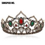 Luxuriant Turkish Queen Princess Resin Flower Crown Women Tiaras <b>Antique</b> Rhinestone Hair <b>Jewelry</b> Wedding Party Headband Gifts